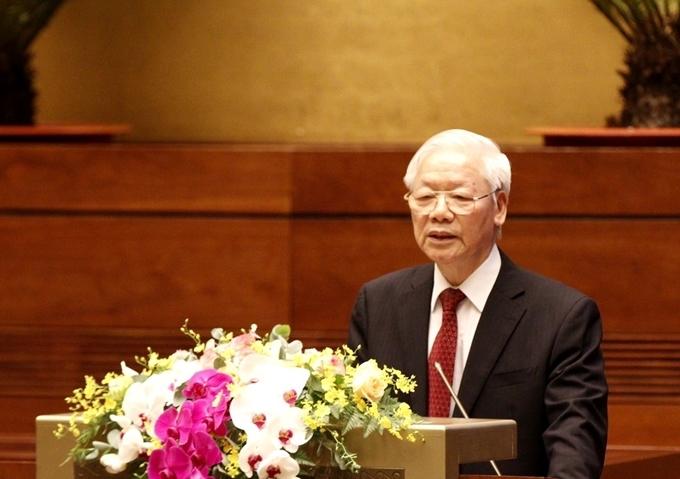 Tổng Bí thư Nguyễn Phú Trọng phát biểu chỉ đạo Hội nghị.