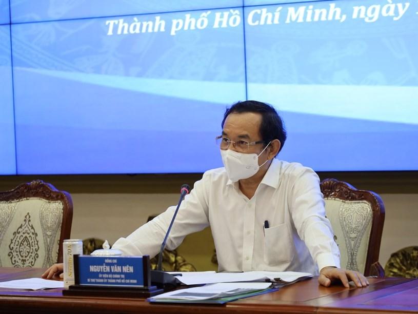 Bí thư Thành ủy TPHCM Nguyễn Văn Nên phát biểu tại cuộc họp. Ảnh: Trung tâm Báo chí TPHCM