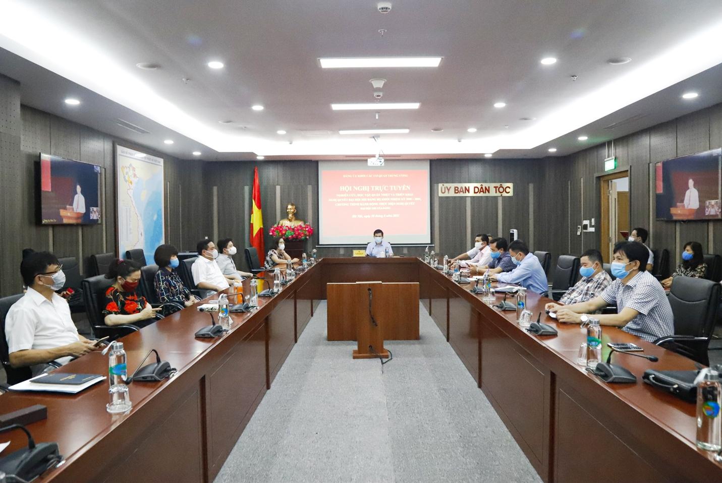 Các đại biểu tại điểm cầu Đảng ủy cơ quan Ủy ban Dân tộc nghe quán triệt các nội dung của Hội nghị
