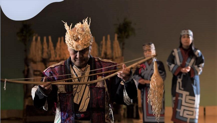 Hoạt cảnh tái hiện cảnh săn bắt của người Ainui tại Bảo tàng Akanko Ainu Kotan