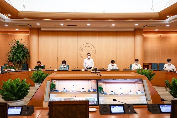 Cuộc họp của Ban Chỉ đạo COVID-19 thành phố Hà Nội. (Ảnh: PV/Vietnam+)