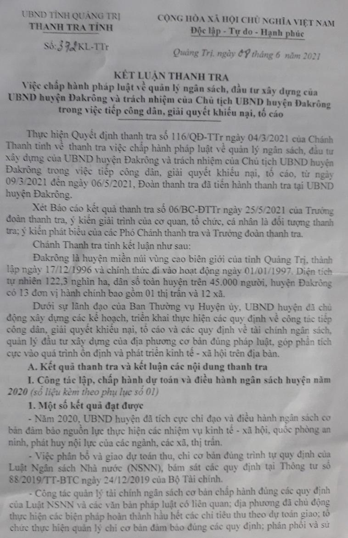 Kết luận của Thanh tra tỉnh Quảng trị chỉ ra nhiều sai phạm ở huyện Đakrông