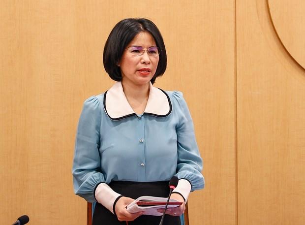 Bà Trần Thị Nhị Hà, Giám đốc Sở Y tế Hà Nội thông tin về tình hình COVID-19. (Ảnh: PV/Vietnam+)