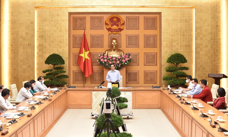 Thủ tướng Phạm Minh Chính phát biểu tại cuộc làm việc - Ảnh: VGP/Nhật Bắc