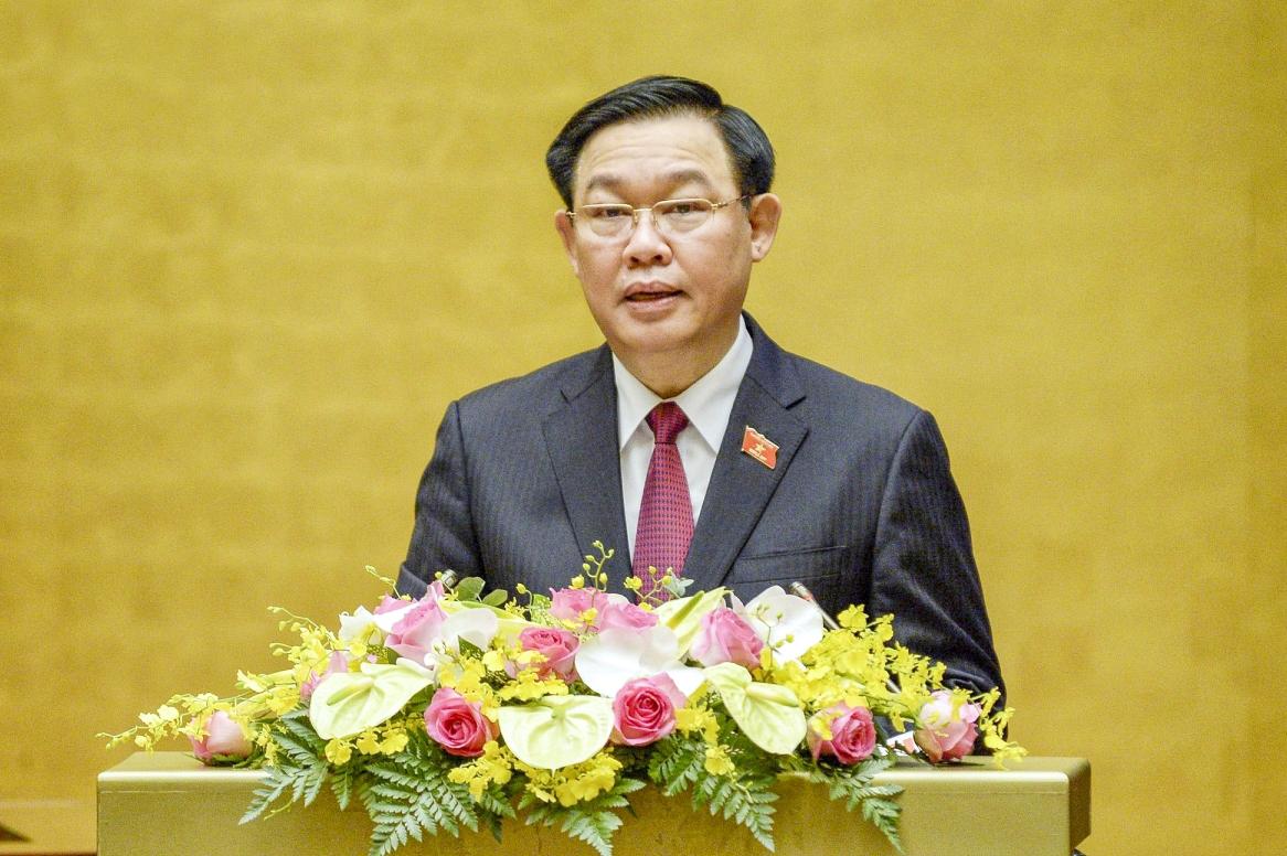 Chủ tịch Quốc hội, Chủ tịch Hội đồng Bầu cử quốc gia Vương Đình Huệ phát biểu khai mạc Hội nghị