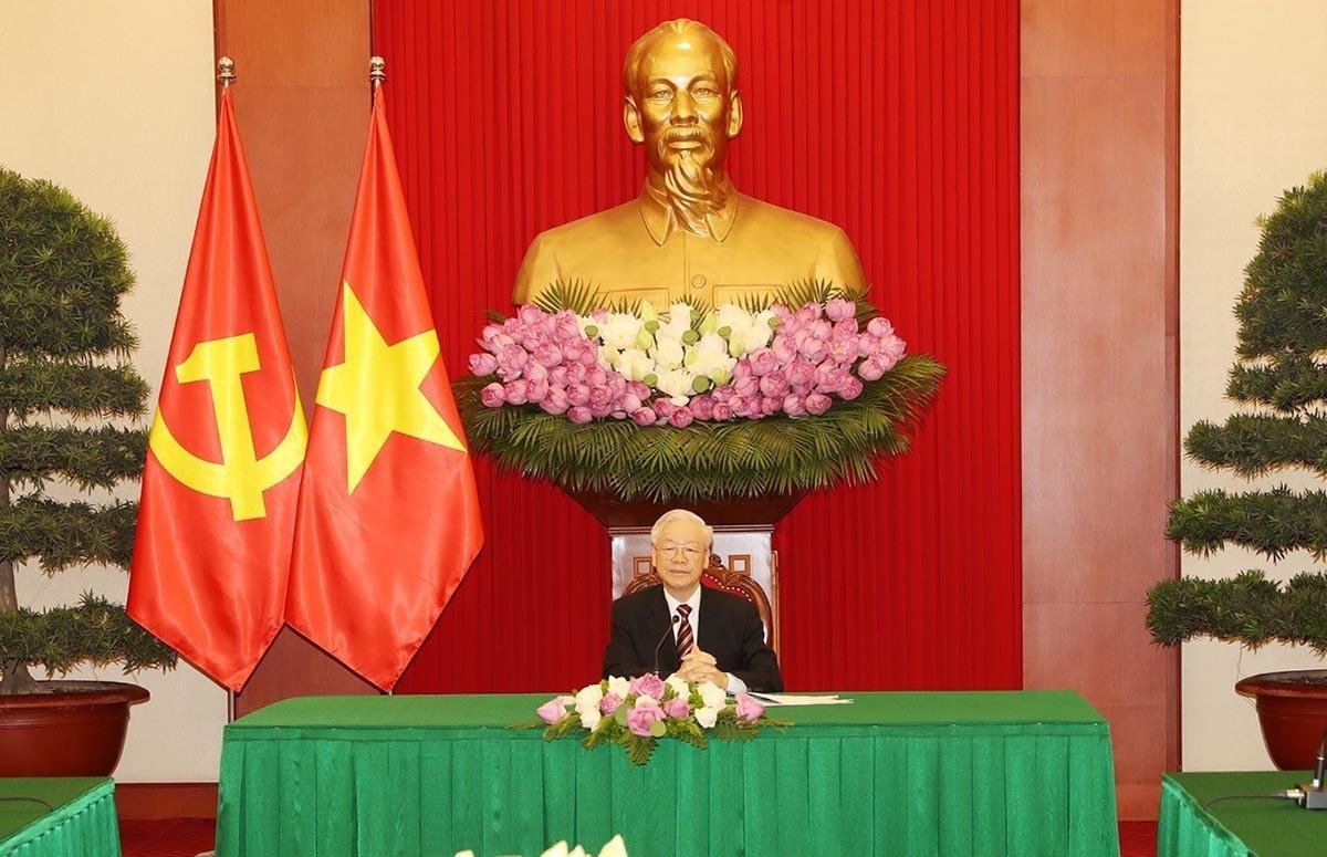 Tổng Bí thư Nguyễn Phú Trọng điện đàm với Tổng thống Hàn Quốc Moon Jae-in. (Nguồn: TTXVN)