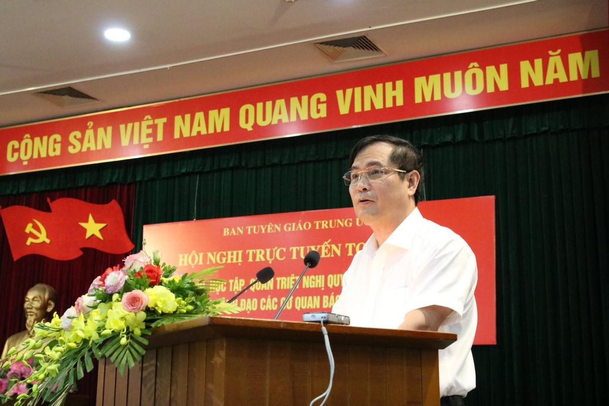 Phó Trưởng Ban Tuyên giáo Trung ương Phan Xuân Thủy phát biểu tại Hội nghị