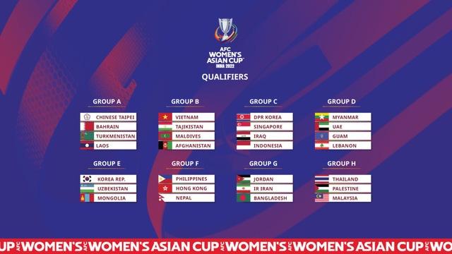 Theo kết quả bốc thăm vòng loại Asian Cup nữ 2022, ĐT nữ Việt Nam nằm ở bảng B với các đối thủ là Tajikistan, Maldives và Afghanistan
