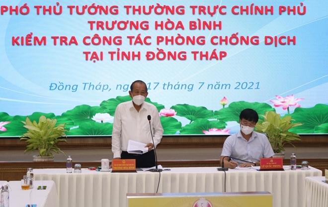 Phó Thủ tướng Thường trực Chính phủ Trương Hòa Bình phát biểu tại buổi làm việc với tỉnh Đồng Tháp.
