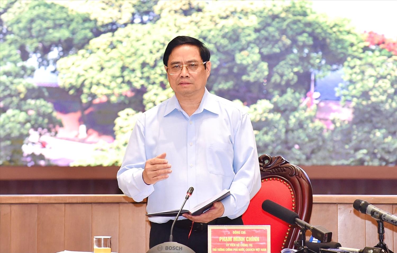 Thủ tướng Phạm Minh Chính: Hà Nội phải ưu tiên số 1 cho phòng chống dịch an toàn, hiệu quả. Ảnh VGP/Nhật Bắc