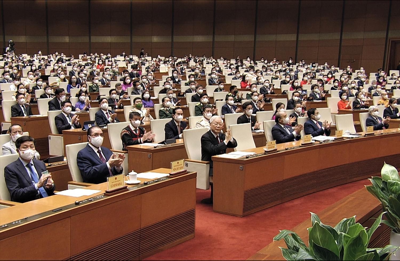 Các đồng chí lãnh đạo, nguyên lãnh đạo Đảng, Nhà nước dự phiên khai mạc Kỳ họp
