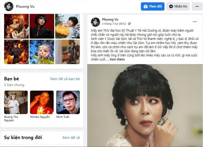 Bài viết của MC Trác Thuý Miêu trên facebook sau đó đã bị xóa