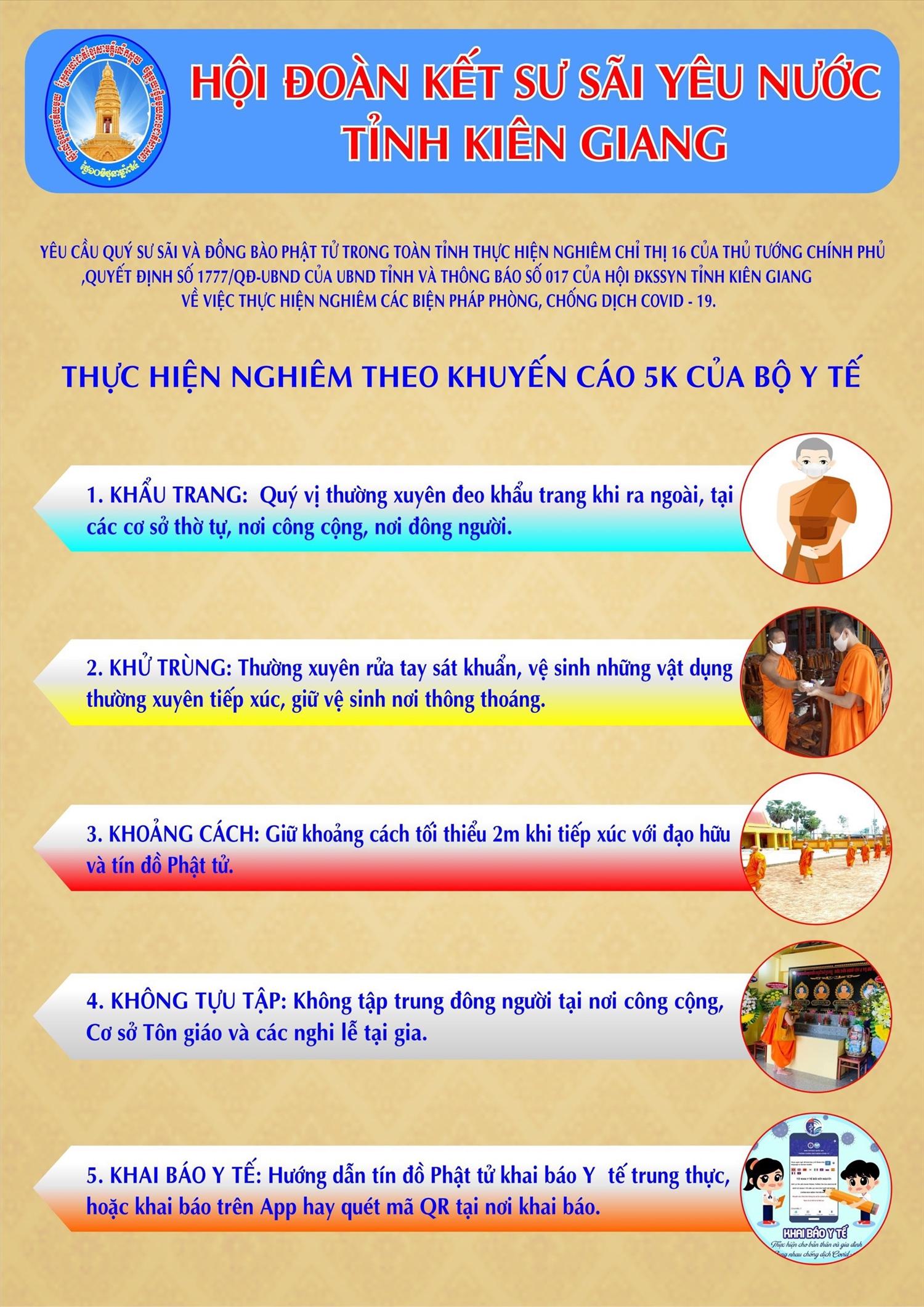 Tờ rơi tuyên truyền phòng, chống dịch COVID - 19 của Hội Đoàn kết Sư Sãi yêu nước tỉnh Kiên Giang
