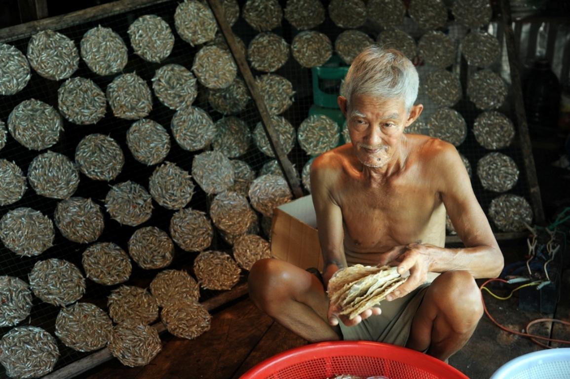 Cá cơm được làm sạch, chế biến thành bánh, đóng gói bán phục vụ du khách