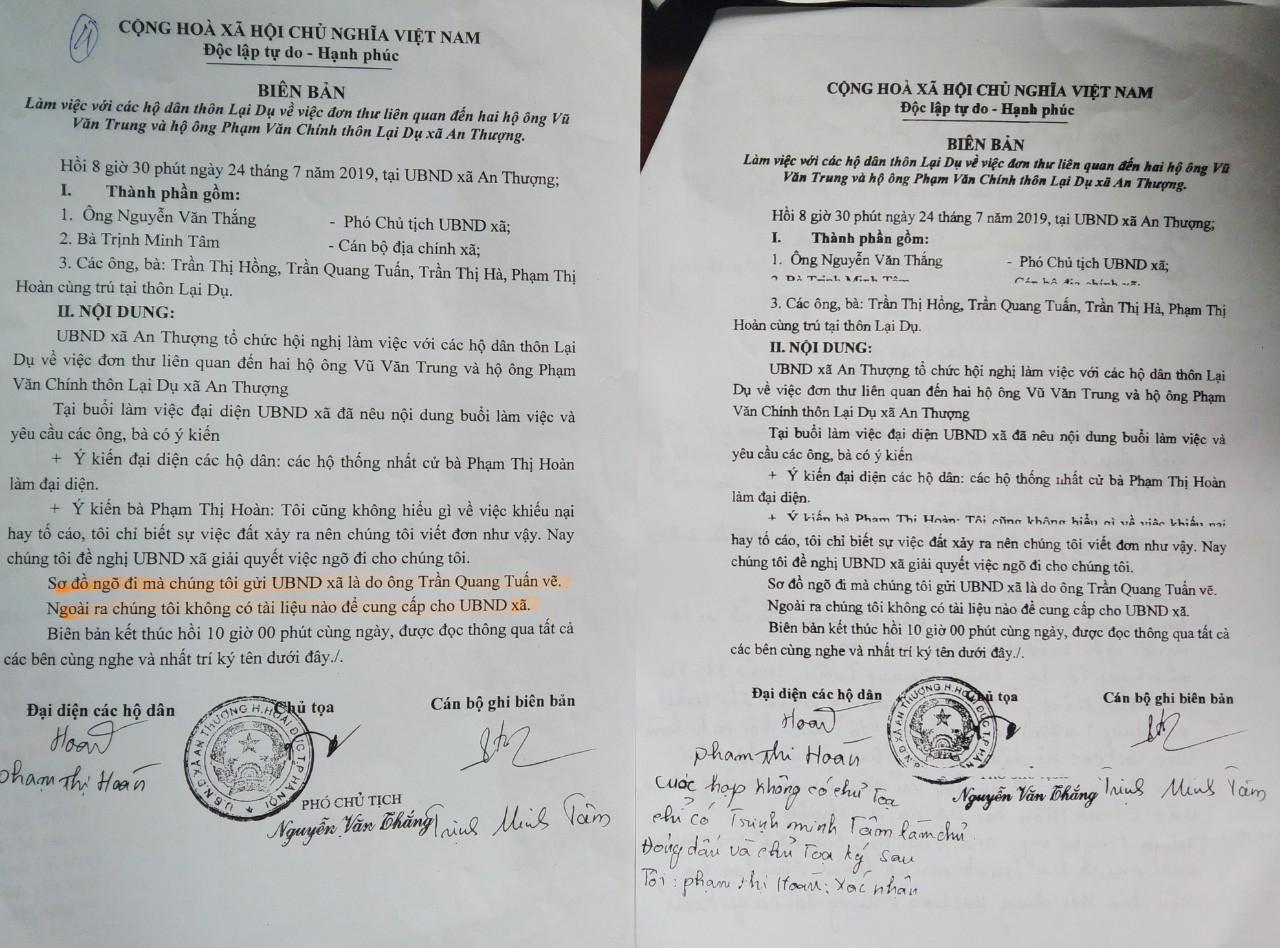 Hai Biên bản làm việc cùng ngày 24/9/2019, cùng nội dung nhưng chữ ký khác nhau