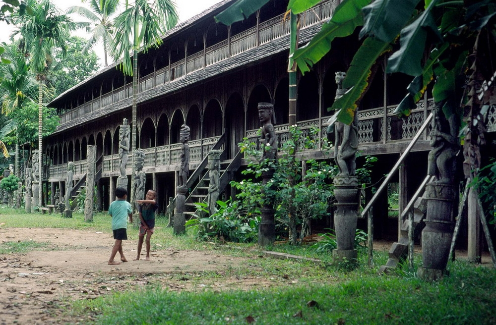 Người Dayak sinh sống trong những căn nhà sàn như người Ê Đê ở Việt Nam