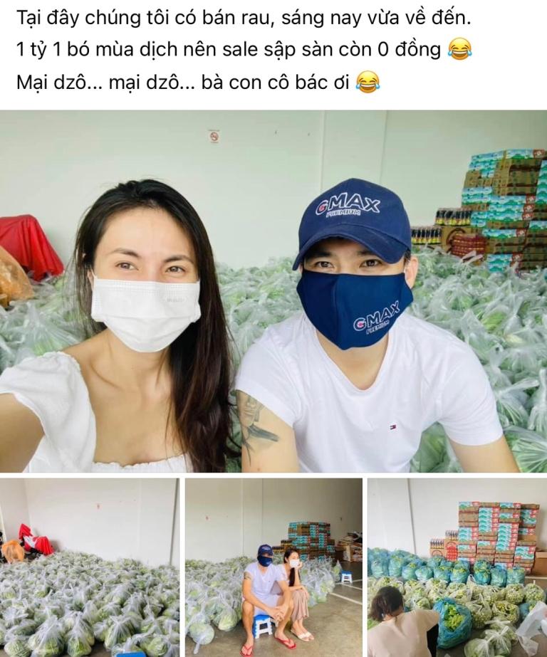 """Công Vinh - Thủy Tiên """"bán"""" 1 tỷ 1 bó rau mùa dịch, sale sập sàn còn 0 đồng"""