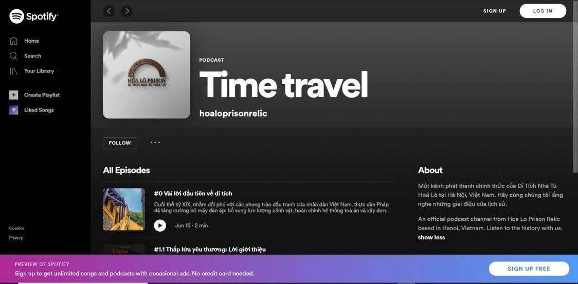 Kênh độc quyền của Di tích Nhà tù Hỏa lò trên nền tảng Spotify