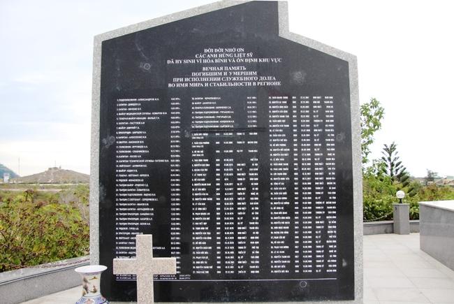 Bia khắc tên các tráng sĩ Nga đã anh dũng hy sinh ở Việt Nam