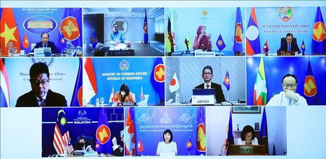 Các đại biểu tham dự trực tuyến Diễn đàn ASEAN - Nhật Bản lần thứ 36. Ảnh: Lâm Khánh/TTXVN