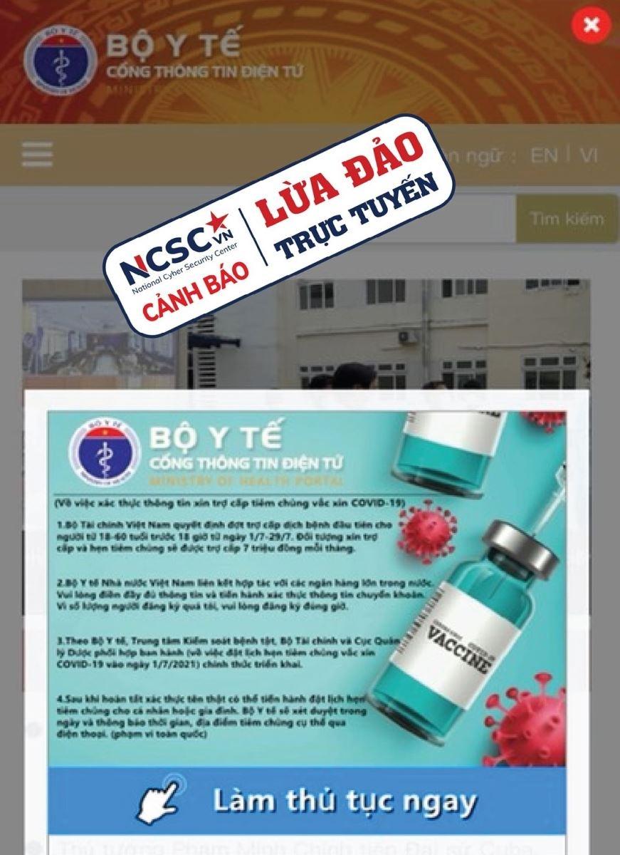 Trang web giả mạo trang web của Bộ Y tế để lừa đảo