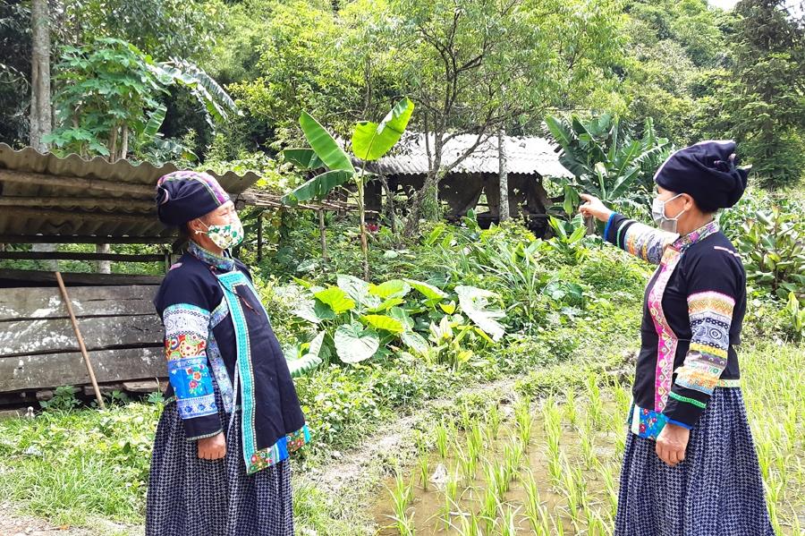 Người có uy tín Lộc Thị Liên (phải) tuyên truyền người dân di chuyển chuồng trại ra xa nhà ở