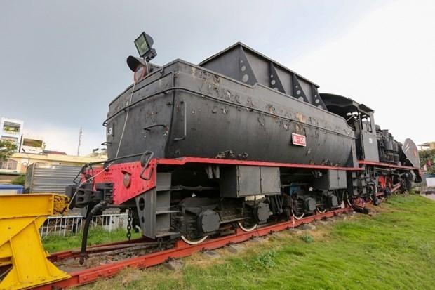 Một đầu máy hơi nước được trưng bày của ngành đường sắt. (Ảnh: Minh Sơn/Vietnam+)