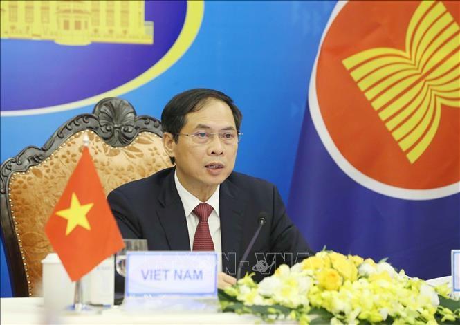 Bộ trưởng Bộ Ngoại giao Bùi Thanh Sơn phát biểu. Ảnh: Phạm Kiên/TTXVN