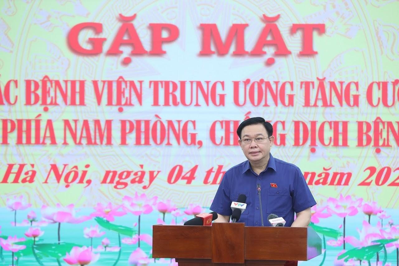 Ủy viên Bộ Chính trị, Chủ tịch Quốc hội Vương Đình Huệ phát biểu tại buổi Gặp mặt