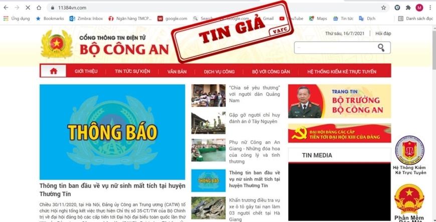 Website www.11384vn.com giả mạo Cổng thông tin Bộ Công an. Ảnh: tingia.gov.vn.