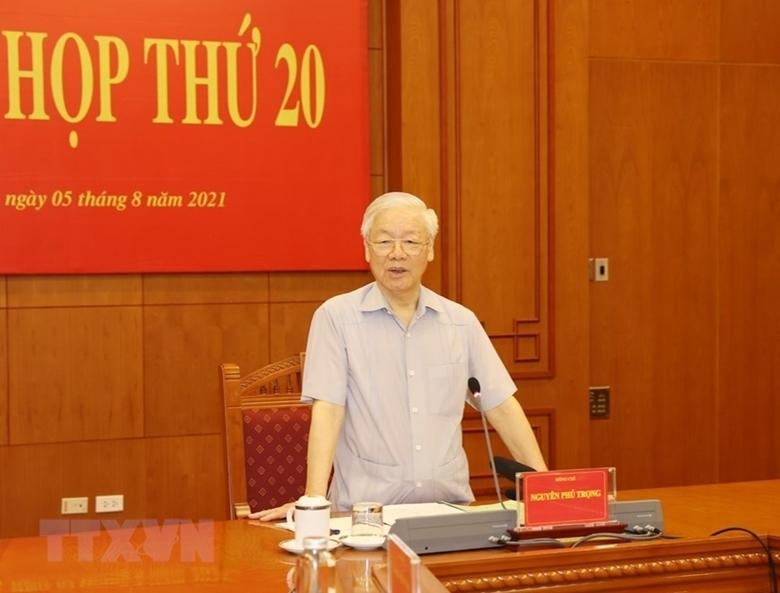 Tổng Bí thư Nguyễn Phú Trọng, Trưởng Ban Chỉ phát biểu kết luận Phiên họp. (Ảnh: PV/TTXVN)