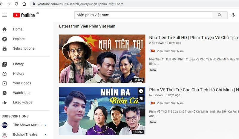 Phim Nhà nước đặt hàng được giới thiệu trên kênh Youtube của Viện Phim Việt Nam.