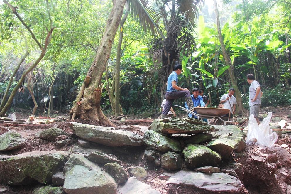 Công trường khai quật khảo cổ di tích