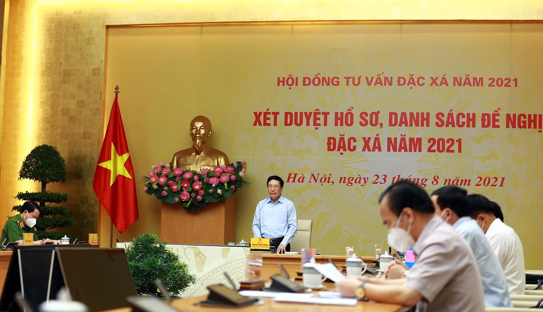 Phó Thủ tướng Phạm Bình Minh, Chủ tịch Hội đồng Tư vấn đặc xá năm 2021 chủ trì buổi họp - Ảnh: VGP/Hải Minh