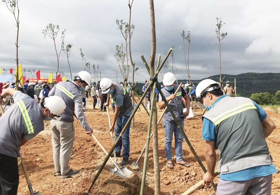 Các đại biểu tham gia trồng cây xanh ngay sau Lễ phát động