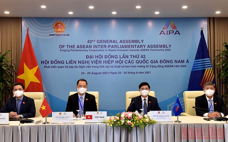 Đoàn đại biểu Quốc hội Việt Nam dự phiên họp Ủy ban Xã hội AIPA. Ảnh: Duy Linh