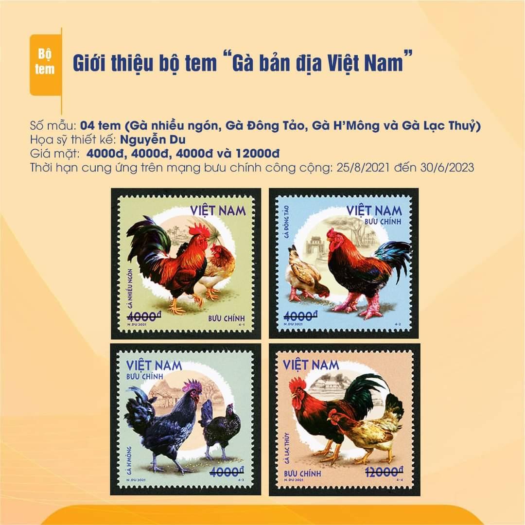 """Bìa giới thiệu chung về phát hành bộ tem """"Gà bản địa Việt Nam""""."""