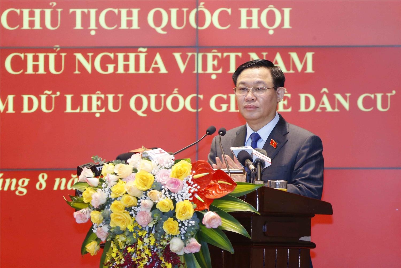 Chủ tịch Quốc hội Vương Đình Huệ phát biểu tại buổi làm việc - Ảnh:VGP/Thành Chung