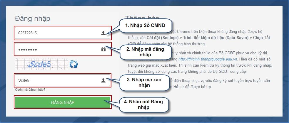 Các bước thực hiện điều chỉnh nguyện vọng đăng ký xét tuyển trực tuyến 1