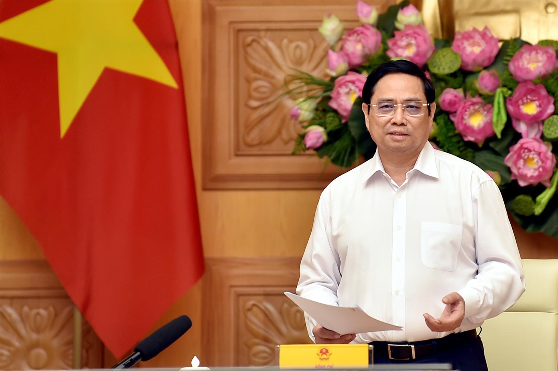 Thủ tướng Phạm Minh Chính phát biểu tại buổi gặp mặt và làm việc. Ảnh: VGP/Nhật Bắc