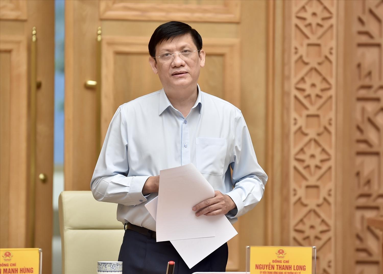Bộ trưởng Bộ Y tế Nguyễn Thanh Long tại cuộc họp. Ảnh: VGP/Nhật Bắc