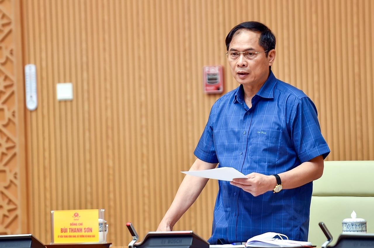 Bộ trưởng Ngoại giao Bùi Thanh Sơn phát biểu ý kiến tại cuộc họp. Ảnh: VGP/Nhật Bắc