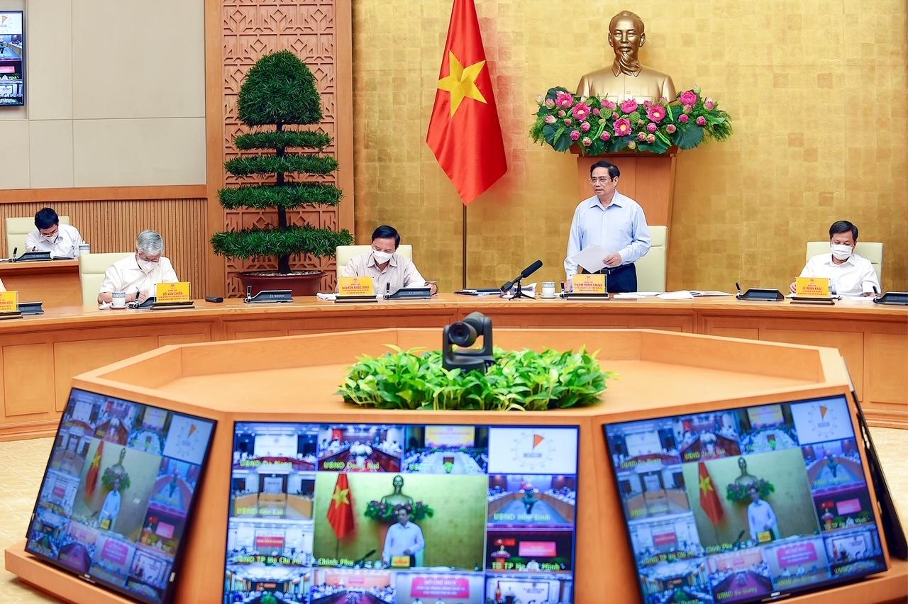 Thủ tướng chủ trì cuộc họp trực tuyến toàn quốc chiều 5/9 về công tác phòng chống dịch COVID-19. Ảnh: VGP/Nhật Bắc