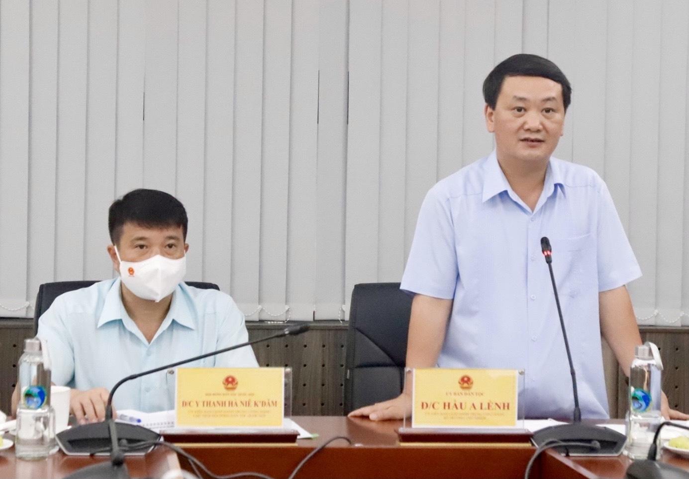 Bộ trưởng, Chủ nhiệm Ủy ban Dân tộc Hầu A Lềnh và Chủ tịch Hội đồng Dân tộc của Quốc hội Y Thanh Hà Niê Kđăm đồng chủ trì buổi làm việc