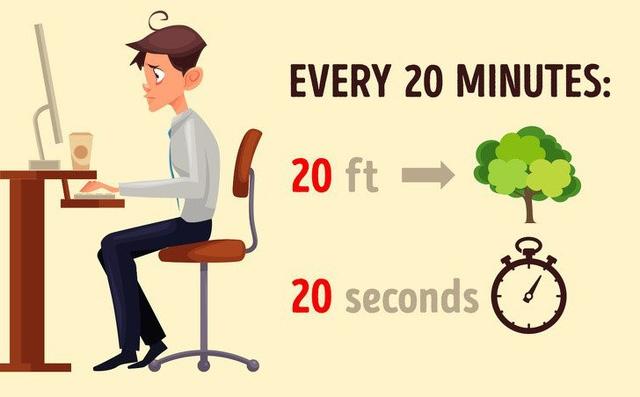 Tuân thủ tỉ lệ 20:20:20- Làm việc máy tính khoảng 20 phút nên nghỉ 20 giây và nhìn xa ra cửa sổ, bầu trời khoảng 20 feet (khoảng 6m)