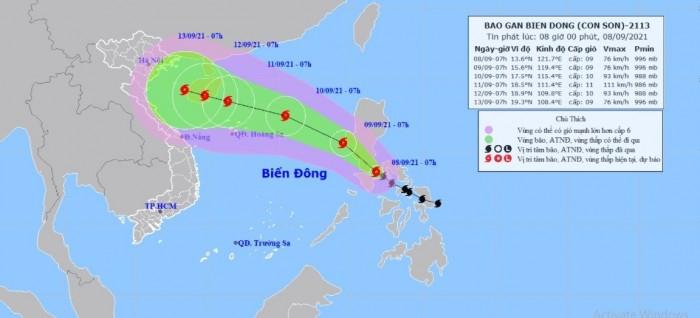 Dự báo bão Côn Sơn sẽ đi vào vịnh Bắc Bộ gây mưa lớn cho Bắc Bộ và Bắc Trung Bộ