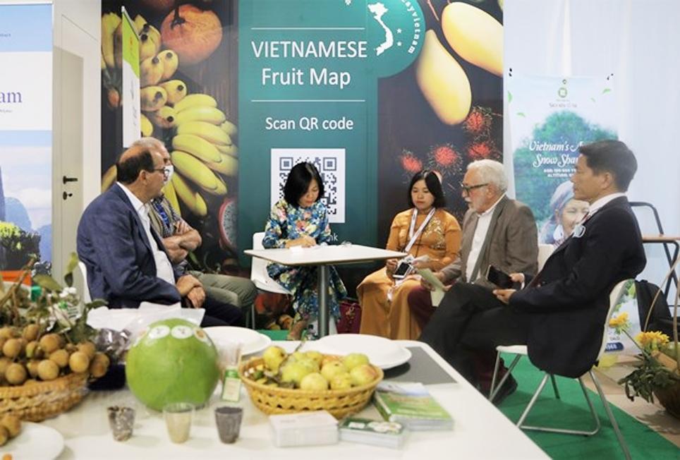 Đại sứ Việt Nam tại Italia Nguyễn Thị Bích Huệ trao đổi với các doanh nghiệp Italia