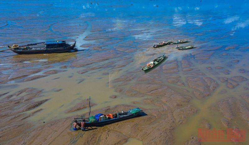Có những thời điểm nước cạn trơ đáy, chỉ còn những vũng nước nhỏ, ngư dân chỉ cần đi bộ trên mặt hồ để bắt thủy sản