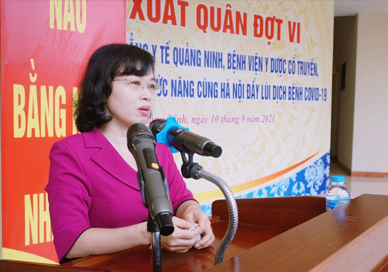 Bà Trịnh Thị Minh Thanh, Phó Bí thư Tỉnh ủy phát biểu tại lễ xuất quân