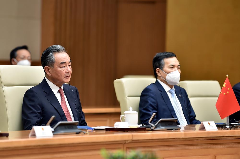 Ủy viên Quốc vụ, Bộ trưởng Ngoại giao Vương Nghị phát biểu tại buổi tiếp - Ảnh: VGP/Nhật Bắc